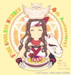 1girl :d animal_on_head anniversary bird bird_on_head blush_stickers brown_hair cake closed_eyes copyright_name enkyo_yuuichirou facing_viewer fire_emblem fire_emblem_heroes food fox_mask framed hana_(fire_emblem) headband holding holding_cake holding_food holding_tray mask mask_on_shoulder on_head open_mouth owl signature smile solo translation_request tray upper_body