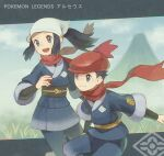 1boy 1girl ametani_kuko black_hair closed_mouth commentary_request copyright_name creatures_(company) eyelashes female_protagonist_(pokemon_legends:_arceus) floating_hair floating_scarf game_freak grey_eyes hand_up head_scarf holding holding_poke_ball male_protagonist_(pokemon_legends:_arceus) nintendo open_mouth poke_ball pokemon pokemon_(game) pokemon_legends:_arceus red_scarf sash scarf short_hair sidelocks smile teeth tongue