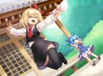 2girls ^_^ ahoge araki_(qbthgry) architecture blonde_hair blue_eyes blue_hair cirno closed_eyes commentary_request dutch_angle east_asian_architecture happy jumping looking_at_another multiple_girls outstretched_arms rumia short_hair sitting thigh-highs touhou |d