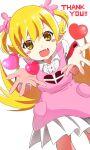 :3 absurdres apron blush_stickers bunny_hair_ornament english_text fang hair_ornament heart highres mashimaro_tabetai monogatari_(series) oshino_shinobu pink_apron pointy_ears skin_fang thank_you white_background