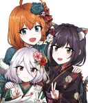 3girls ahoge animal_ear_fluff animal_ears black_hair black_kimono blue_eyes blue_flower braid braided_ponytail cat_ears cat_tail double_v eyebrows_visible_through_hair feather_boa floral_print flower french_braid green_eyes green_kimono hair_between_eyes hair_flower hair_ornament hair_ribbon hand_on_another's_shoulder highres japanese_clothes karyl_(princess_connect!) kimono kokkoro_(princess_connect!) lix long_hair medium_hair multicolored_hair multiple_girls orange_hair pecorine_(princess_connect!) pink_flower pointy_ears princess_connect! princess_connect!_re:dive purple_flower red_flower ribbon silver_hair simple_background smile streaked_hair tail v violet_eyes white_background white_flower white_kimono