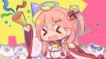 >_< 1girl 35p_(sakura_miko) ahoge bell cat cherry_blossom_print floral_print hair_bell hair_ornament hairclip hat highres hololive kuro_(kuroneko_no_kanzume) long_hair open_mouth party_hat party_popper pink_hair sakura_miko sunglasses virtual_youtuber x_hair_ornament