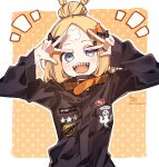 1girl :d abigail_williams_(fate) absurdres arms_up bangs black_bow black_jacket blonde_hair blue_eyes blush bow commentary crossed_bandaids double_v fate/grand_order fate_(series) hair_bow hair_bun heroic_spirit_traveling_outfit highres jacket long_hair long_sleeves looking_at_viewer notice_lines open_mouth orange_background orange_bow outline parted_bangs polka_dot polka_dot_background sharp_teeth signature sleeves_past_wrists smile sofra solo star_(symbol) symbol_commentary teeth twitter_username two-tone_background upper_body v white_background white_outline