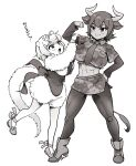 2girls abs animal_ears aurochs_(kemono_friends) back_bow boots bow camouflage camouflage_shirt camouflage_skirt center_frills corset cow_ears cow_girl cow_horns cow_tail crop_top eyebrows_visible_through_hair flexing footwear_bow frills full_body fur_sleeves greyscale hair_bow highres horns kemono_friends long_sleeves midriff miniskirt monochrome multiple_girls muscular necktie pantyhose pencil_skirt pose shirt short_hair short_sleeves silky_anteater_(kemono_friends) skirt smile tail translation_request yokuko_zaza