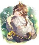 1boy animal_ears asymmetrical_horns baby bangs brown_hair cloak dated dragon_ears dragon_horns dragon_tail flower from_above genshin_impact gradient_hair highres hood hood_down horns looking_at_viewer male_focus multicolored_hair rock rokuon solo tail twitter_username white_cloak yellow_eyes younger zhongli_(genshin_impact)
