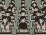 6+boys 6+girls @_@ absurdres avogado6 bangs black_hair black_jacket book buttons classroom commentary desk eraser gakuran grey_background hand_up highres holding holding_pen jacket long_hair looking_at_another multiple_boys multiple_girls o_o open_book original parted_bangs pen pencil ponytail school_uniform shirt short_hair simple_background sitting sweat swept_bangs upper_body wavy_hair white_shirt wide-eyed