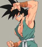 1boy arm_up armpits bare_arms black_eyes black_hair clenched_hand closed_mouth commentary_request copyright_request dougi dragon_ball grey_background kz_(dbz_kz) looking_to_the_side male_focus muscular muscular_male pectorals sash sideways_glance simple_background sleeveless smile solo son_goku spiky_hair upper_body wristband