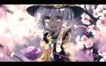 1girl :d black_headwear blurry blurry_background bright_pupils cherry_blossoms commentary_request dise eyeball flower green_eyes hat highres komeiji_koishi letterboxed light_green_hair medium_hair open_mouth pink_flower smile solo third_eye touhou upper_body