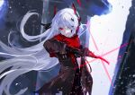 1girl black_coat black_gloves coat eyebrows_visible_through_hair eyeshadow gloves glowing glowing_weapon heterochromia highres holding holding_sword holding_weapon katana long_hair looking_at_viewer makeup punishing:_gray_raven red_eyes solo sword torn torn_clothes torn_coat vardan weapon white_hair yellow_eyes zipper