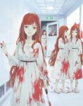 4girls barefoot blood blood_on_face blood_stain blood_trail bloody_clothes bloody_handprints bloody_hands bloody_knife bloody_weapon closed_mouth crack door dress exit_sign footprints glass gun handgun highres holding holding_gun holding_knife holding_weapon horror_(theme) indoors knife long_hair looking_at_viewer multiple_girls nanaju_ko number open_door open_mouth orange_hair original parted_lips red_eyes smile talking weapon whispering white_dress white_neckwear