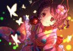 1girl animal_print antennae back_bow black_eyes bow bug butterfly butterfly_print candy_apple closed_mouth collarbone entoma_vasilissa_zeta fangs flower food hair_flower hair_ornament highres holding holding_food insect japanese_clothes kimono long_sleeves obi overlord_(maruyama) pink_flower pink_kimono poppu print_kimono purple_hair red_bow sash shiny shiny_hair short_hair sleeves_past_fingers sleeves_past_wrists slit_pupils solo yukata