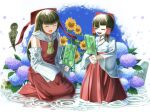 2girls bangs blunt_bangs bow brown_hair closed_eyes colored_skin commentary_request cookie_(touhou) detached_sleeves eyebrows_visible_through_hair flower food fuckin_animal full_body hair_bow hair_tubes hakama_skirt hakurei_reimu highres japanese_clothes kimono kneeling long_hair miko multiple_girls nontraditional_miko open_mouth popsicle purple_flower red_bow red_shirt red_skirt rock ru_(cookie) shirt short_hair skirt sleeveless sleeveless_shirt snail sunflower touhou translation_request tsuno_(nicoseiga11206720) water white_flower white_kimono white_skin white_sleeves yamasaka_aimi yellow_flower  d