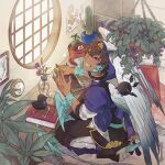 1boy bird black_sclera blue_eyes book bookshelf brown_hair cactus clock clover colored_sclera dark_skin dark_skinned_male four-leaf_clover indoors looking_at_viewer male_focus map_(object) mirion pixiv_fantasia pixiv_fantasia_age_of_starlight plant potted_plant seiza sitting tasuki vase white_wings window wings