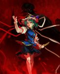 1girl black_skirt blue_eyes blue_vest feet_out_of_frame green_hair hand_up hat holding inishie_kumo juliet_sleeves long_sleeves looking_at_viewer medium_hair monster parted_lips puffy_sleeves purple_headwear red_background red_ribbon ribbon shiki_eiki skirt sleeve_ribbon smile solo standing touhou vest