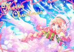 1girl :d angel_wings aqua_eyes bangs blonde_hair blush bow box braid character_request christmas dress eyebrows_visible_through_hair gift gift_box hair_bow hair_ornament hat hibi89 holding holding_gift layered_dress long_hair looking_at_viewer merc_storia merry_christmas open_mouth santa_hat sidelocks smile solo twin_braids upper_body very_long_hair white_bow white_dress white_headwear wings