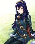 1girl ameno_(a_meno0) blue_eyes blue_hair cape fire_emblem fire_emblem_awakening grass hair_between_eyes light_blue_eyes long_hair long_sleeves looking_at_viewer lucina_(fire_emblem) outdoors sitting smile solo symbol-shaped_pupils tiara