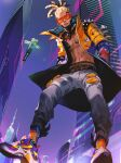 1boy apex_legends asian bandaid_on_stomach blonde_hair blue_jacket building cornrows crypto_(apex_legends) drone grey_pants hairlocs hands_in_pockets highres hype_beast_crypto iwamoto_zerogo jacket leaning_forward looking_down male_focus navel orange_jacket pants science_fiction shirtless skyscraper solo sunglasses two-tone_jacket yellow_jacket