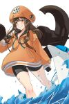 1girl anchor brown_eyes brown_hair dolphin fingerless_gloves gloves guilty_gear guilty_gear_strive hat highres holding_anchor hood hoodie legs long_hair may_(guilty_gear) orange_headwear orange_hoodie skull_and_crossbones smile water