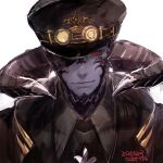 1boy au_ra black_headwear black_sclera closed_mouth colored_sclera colored_skin dated eyepatch final_fantasy final_fantasy_xiv goggles goggles_on_head hat horns looking_at_viewer male_focus purple_skin red_eyes signature simple_background smile solo upper_body uroko_(mnr) white_background yellow-tinted_eyewear