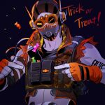 1boy apex_legends black_background black_headwear black_shirt candy cropped_shirt cropped_vest fingerless_gloves food gloves goggles iwamoto_zerogo looking_at_viewer mask mouth_mask navel octane_(apex_legends) orange_eyes orange_gloves orange_vest pointing shirt solo trick_or_treat upper_body vest
