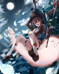 1girl absurdres arm_up black_shorts brown_hair bug butterfly chinese_clothes clouds falling full_body full_moon genshin_impact ghost high_heels highres holding holding_polearm holding_weapon hu_tao insect moon night night_sky open_mouth pengrani polearm red_eyes scenery shorts sky socks solo symbol-shaped_pupils twintails weapon
