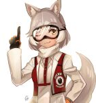1girl absurdres alternate_costume animal_ears black_gloves commentary_request dog_(mixed_breed)_(kemono_friends) dog_ears dog_girl dog_tail eyebrows_visible_through_hair gloves grey_hair grey_jacket hand_on_hip harness highres jacket kemono_friends kemono_friends_3 kodineun_haengbokhada korean_commentary multicolored multicolored_clothes multicolored_gloves multicolored_hair one_eye_closed orange_gloves photo-referenced pointing red_vest scarf short_hair ski_goggles solo sweater tail two-tone_hair vest white_hair white_neckwear white_sweater yellow_eyes
