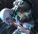 1girl absurdres black_hair breasts commentary_request covered_mouth dark_background floating_hair glowing glowing_eye green_eyes gunjou_row hair_between_eyes hat highres holding holding_ladle holding_skull knee_up ladle looking_at_viewer murasa_minamitsu neckerchief red_eyes red_neckwear ripples sailor_collar sailor_hat sailor_shirt shirt short_hair short_sleeves shorts skull small_breasts solo tilted_headwear touhou upper_body water white_headwear white_shirt white_shorts