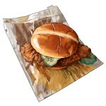 bag bread bread_bun cucumber cucumber_slice food food_focus hamburger mcdonald's meat no_humans original paper_bag pastry realistic simple_background still_life studiolg vegetable white_background
