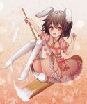 1girl :d animal_ears brown_hair bunny_tail floppy_ears full_body highres inaba_tewi kine kinos_(kw00789) leaf leaf_background mallet maple_leaf open_mouth orange_background rabbit_ears red_eyes ribbon-trimmed_legwear ribbon_trim riding short_hair smile solo tail thigh-highs touhou white_legwear