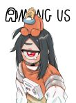 1girl ahoge among_us black_hair closed_mouth copyright_name creature_on_head crewmate_(among_us) cyclops highres long_hair looking_at_viewer muku-chan_(muroku) muroku_(aimichiyo0526) one-eyed orange_(among_us) original red_eyes simple_background solo spacesuit tears twitter_username upper_body wet_floor_sign white_background x_x