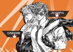2boys alternate_costume aviator_cap battle_tendency bomber_jacket buttons caesar_anthonio_zeppeli character_name chinese_commentary cigarette closed_mouth collared_shirt commentary_request contemporary dog_tags dress_shirt facial_mark fur-trimmed_jacket fur_trim gloves goggles goggles_on_head goggles_on_headwear halftone hands_in_pockets jacket jacket_over_shoulder jojo_no_kimyou_na_bouken joseph_joestar_(young) light_blue_eyes looking_at_viewer looking_to_the_side male_focus mouth_hold multiple_boys multiple_sources necktie orange_background partially_colored partially_unzipped shirt short_hair sideways_glance sleeves_rolled_up star_(symbol) sunglasses tie_clip upper_body watch watch xing_xiao