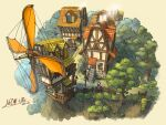 1girl barrel brown_hair building chimney cliff clothesline day fantasy original outdoors plant poppo_sutchy potted_plant railing scenery smoke solo stairs tree windmill