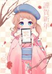 1girl absurdres beret blue_eyes blush brown_hair covering_mouth cross cross_earrings earrings furisode happy_new_year hat highres japanese_clothes jewelry kimono kohe_billialot looking_at_viewer new_year obi obiage obijime original pink_kimono print_kimono sash shirt short_eyebrows short_hair smile solo thick_eyebrows thigh-highs upper_body white_shirt
