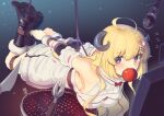 1girl ahoge apple bdsm blonde_hair bondage boots bound detached_sleeves dress food fruit gradient gradient_background grill hair_ornament hairclip highres hogtie hololive horns kaddo kitchen_knife long_hair microphone mouth_hold rope screen sheep_horns suspension tsunomaki_watame violet_eyes virtual_youtuber white_dress