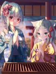 2girls animal_ear_fluff animal_ears bangs blue_kimono blurry blurry_background bow braid braided_bangs breath closed_mouth commentary_request depth_of_field eyebrows_visible_through_hair floral_print flower green_eyes grey_hair hair_bow hair_flower hair_ornament hamaru_(s5625t) highres japanese_clothes kimono long_hair long_sleeves looking_at_viewer multiple_girls obi original outdoors palms_together parted_bangs pink_flower ponytail praying print_kimono red_bow red_eyes sash smile sunrise torii yellow_kimono