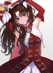 1girl arms_up bangs bare_shoulders blue_eyes breasts brown_hair closed_mouth commentary_request cowboy_shot detached_sleeves dress earrings elbow_gloves fate/stay_night fate_(series) fingerless_gloves gloves hair_ribbon highres holding holding_staff jewelry long_hair looking_at_viewer parted_bangs red_dress red_gloves ribbon shimatori_(sanyyyy) shiny shiny_hair smile solo staff standing thigh-highs tohsaka_rin two_side_up upper_body white_background