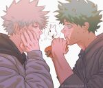 2boys alternate_costume animal_print bakugou_katsuki blonde_hair boku_no_hero_academia bunny_print closed_mouth commentary_request eating eye_contact food food_on_face freckles from_side green_hair grey_background half-closed_eye hamburger highres holding hood hood_down hoodie long_sleeves looking_at_another male_focus midoriya_izuku multiple_boys short_hair simple_background thought_bubble wengwengchim