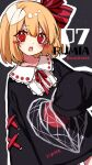 1girl alternate_costume bangs black_sweater blonde_hair blush casual character_name chinese_lantern_(plant) commentary contemporary cowboy_shot grey_background hair_ribbon hand_up heart heart-shaped_pupils highres kyouda_suzuka looking_at_viewer neck_ribbon open_mouth outline print_sweater red_eyes red_neckwear red_ribbon ribbon rumia short_hair sleeves_past_fingers sleeves_past_wrists solo sweater symbol-shaped_pupils touhou twitter_username white_outline
