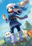 1girl closed_mouth clouds commentary_request cyndaquil day eyelashes female_protagonist_(pokemon_legends:_arceus) floating_hair floating_scarf from_below gen_2_pokemon gen_5_pokemon gen_7_pokemon head_scarf highres holding holding_poke_ball leaves_in_wind long_hair oshawott outdoors peron_(niki2ki884) poke_ball poke_ball_(legends) pokemon pokemon_(creature) pokemon_(game) pokemon_legends:_arceus ponytail rowlet sash scarf sidelocks sky smile socks standing starter_pokemon tree white_headwear