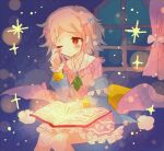 1girl bangs bed blanket blonde_hair blue_bow blush book bow character_request curtains dress eyebrows_visible_through_hair hair_bow hibi89 holding holding_book jewelry merc_storia one_eye_closed open_book pajamas pillow pink_bow pink_dress reading red_eyes rubbing_eyes short_hair sitting solo sparkle