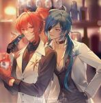 2boys alternate_costume bangs black_choker black_gloves black_shirt blue_eyes blue_hair blurry blurry_background bottle box choker closed_mouth cup dark_skin dark_skinned_male dated diluc_(genshin_impact) eyepatch genshin_impact gift gift_box gloves hair_between_eyes hand_on_hip happy_valentine highres holding holding_cup holding_gift indoors jacket jewelry kaeya_(genshin_impact) long_hair long_sleeves male_focus multicolored_hair multiple_boys open_mouth ponytail red_eyes red_gloves redhead rokuon shirt sidelocks single_earring streaked_hair upper_body valentine vest white_jacket white_vest