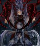 2girls angel_wings artist_name capelet closed_eyes closed_mouth collar cross dress glowing glowing_eyes highres holding holding_wand kneeling long_dress long_hair long_sleeves looking_at_viewer multiple_girls multiple_wings naufaldreamer outstretched_arms red_dress red_eyes sariel_(touhou) shinki_(touhou) short_hair smile spread_arms wand white_hair wide_sleeves wings