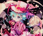 1girl aqua_eyes aqua_hair bangs bow character_request cherry coat cream cream_on_face doughnut eating food food_on_face fruit gloves hair_between_eyes hair_bow hat hibi89 holding long_sleeves looking_at_viewer merc_storia off-shoulder_coat open_mouth pink_bow red_gloves ribbon shirt short_hair solo striped striped_shirt top_hat vertical-striped_shirt vertical_stripes white_coat white_headwear