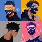 >_< 1boy :3 alternate_costume apex_legends black_hair double_v glasses goggles hair_slicked_back iwamoto_zerogo looking_ahead looking_at_viewer looking_down male_focus mask mouth_mask multiple_views octane_(apex_legends) shaded_face undercut uwu v