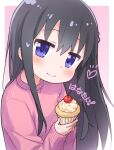 1girl bangs black_hair blush cherry closed_mouth commentary_request cupcake eyebrows_visible_through_hair food fruit hair_between_eyes hands_up heart holding holding_food jigatei_(omijin) long_hair long_sleeves looking_at_viewer pink_background pink_sweater shirosaki_hana sleeves_past_wrists smile solo sparkle sweater translation_request two-tone_background very_long_hair violet_eyes watashi_ni_tenshi_ga_maiorita! white_background