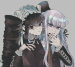 2girls bangs black_dress black_hair black_nails black_ribbon bong_(0u0bon) bonnet braid buttons celestia_ludenberg commentary_request cross-laced_clothes danganronpa:_trigger_happy_havoc danganronpa_(series) dress drill_hair eyelashes frilled_sleeves frills gothic_lolita grey_background hair_ribbon hand_on_another's_shoulder jacket kirigiri_kyouko korean_commentary lolita_fashion long_hair looking_at_viewer multiple_girls nail_polish necktie parted_lips purple_hair purple_jacket red_eyes red_neckwear ribbon shirt side_braid sidelocks simple_background smile twin_drills upper_body violet_eyes white_headwear white_shirt
