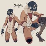 1boy apex_legends beige_background black_gloves black_headwear fingerless_gloves gloves goggles hand_on_hip holding holding_wrench iwamoto_zerogo jumpsuit kneeling looking_ahead male_focus mask mechanical_legs mouth_mask multiple_views octane_(apex_legends) one_knee prosthesis prosthetic_leg red_shirt shirt wrench
