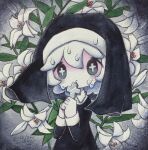 +_+ 1girl cross cross_necklace dated droplet flower grey_eyes habit hands_up highres holding holding_cross jewelry leaf long_sleeves looking_at_viewer medium_hair necklace nun original signature solo tears upper_body white_flower white_hair zukky000