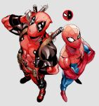 2boys abs bodysuit crossed_arms deadpool from_above gloves katana looking_up male_focus marvel mask multiple_boys muscular muscular_male nashigawa red_gloves sheath sheathed spider-man spider-man_(series) superhero sword weapon weapon_on_back white_eyes