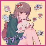 1girl animal_bag backpack bag bangs bare_legs beige_background blunt_bangs blush blush_stickers border bow brown_hair cat_bag character_print closed_mouth danganronpa_(series) danganronpa_2:_goodbye_despair ear_bow eyebrows_visible_through_hair feet_out_of_frame flipped_hair frown green_jacket hair_ornament hairclip hand_up hands_on_own_knees heart heart_print highres hood hood_down hooded_jacket jacket jecheubo knees_up long_sleeves looking_at_viewer medium_hair monokuma monomi_(danganronpa) nanami_chiaki pink_bag pink_border pink_bow pink_eyes protected_link shirt sitting skirt spaceship_hair_ornament sticker translation_request usami_(danganronpa) wing_print